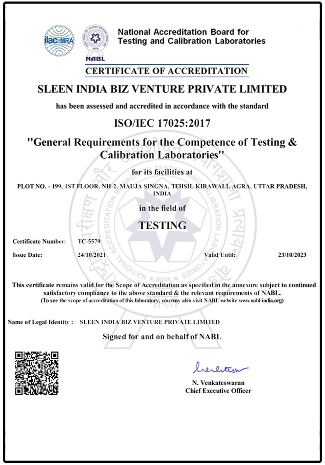 Certificate of Accreditation ISO/IEC 17025:2005